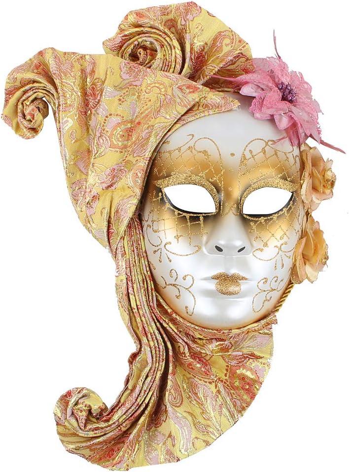 Hophen Lady Flower Jester Venetian Mask Masquerade Mardi Gras Art Wall Decorative Collection (Gold)