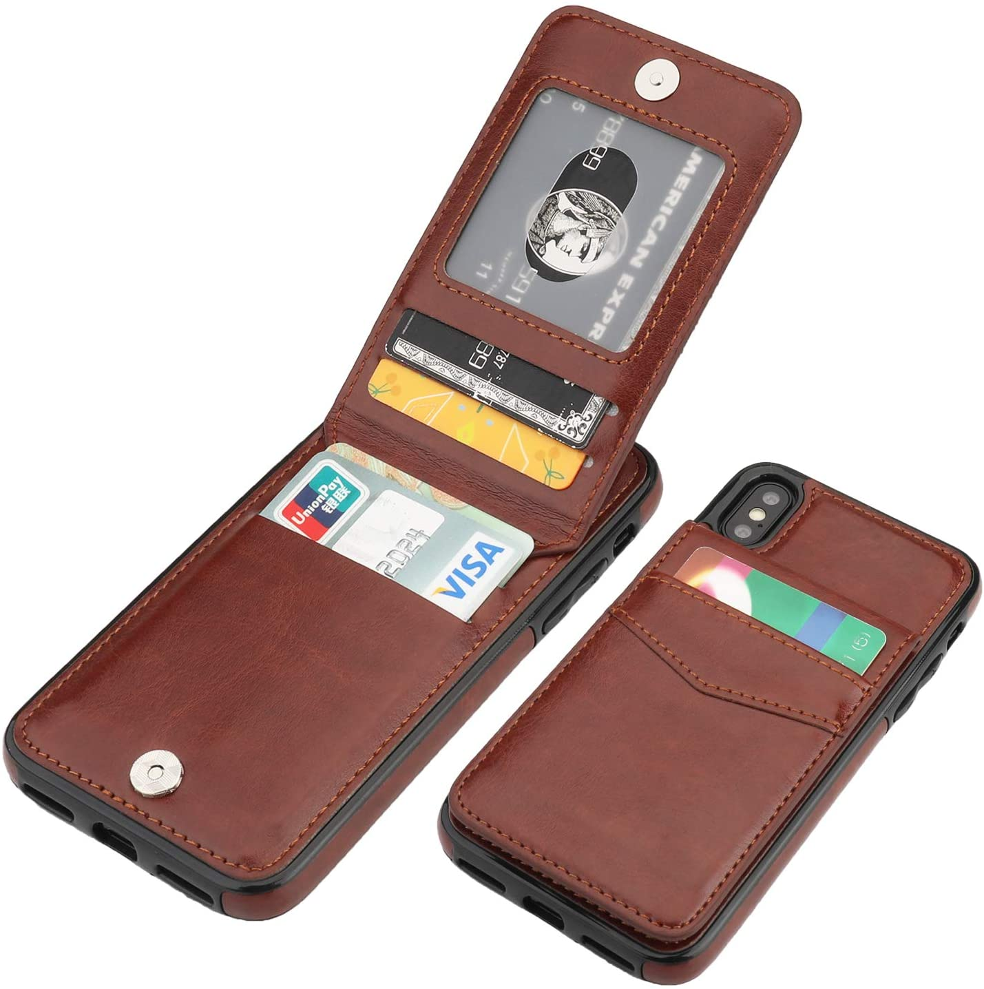 Feather Kickstand Card Holders Extra-Protective Wallet Case for iPhone X PU Leather Flip Cover Compatible with iPhone X