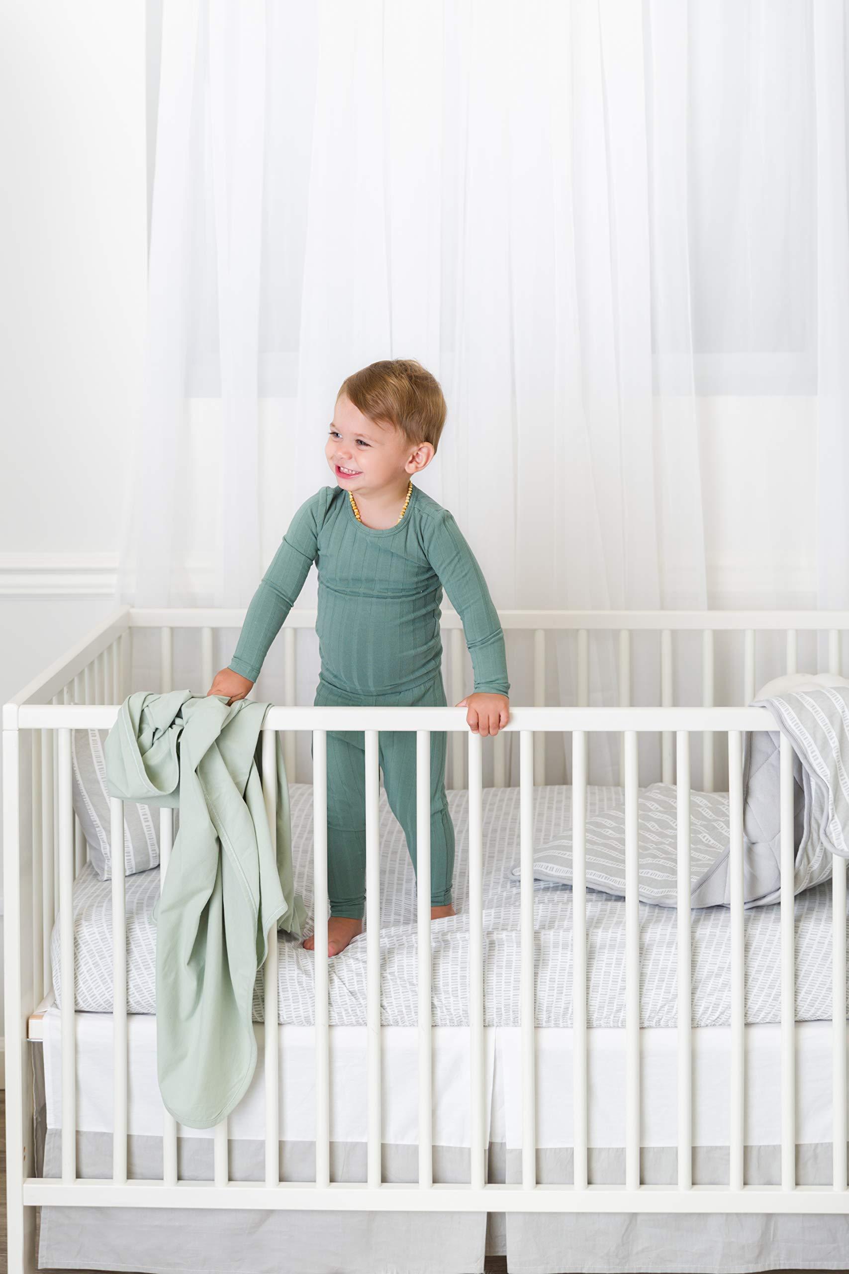 Baby Crib Set 4 pc, Crib Sheet,Quilted Blanket, Crib Skirt & Baby Pillow Case Grey Bamboo Design Combo