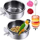 2 Pack Bird Feeder Bowl, Stainless Steel - Parrot Food Bowl Feeding Coop Cups Clamp Water Cage Dish with Fruit Skewer Holder