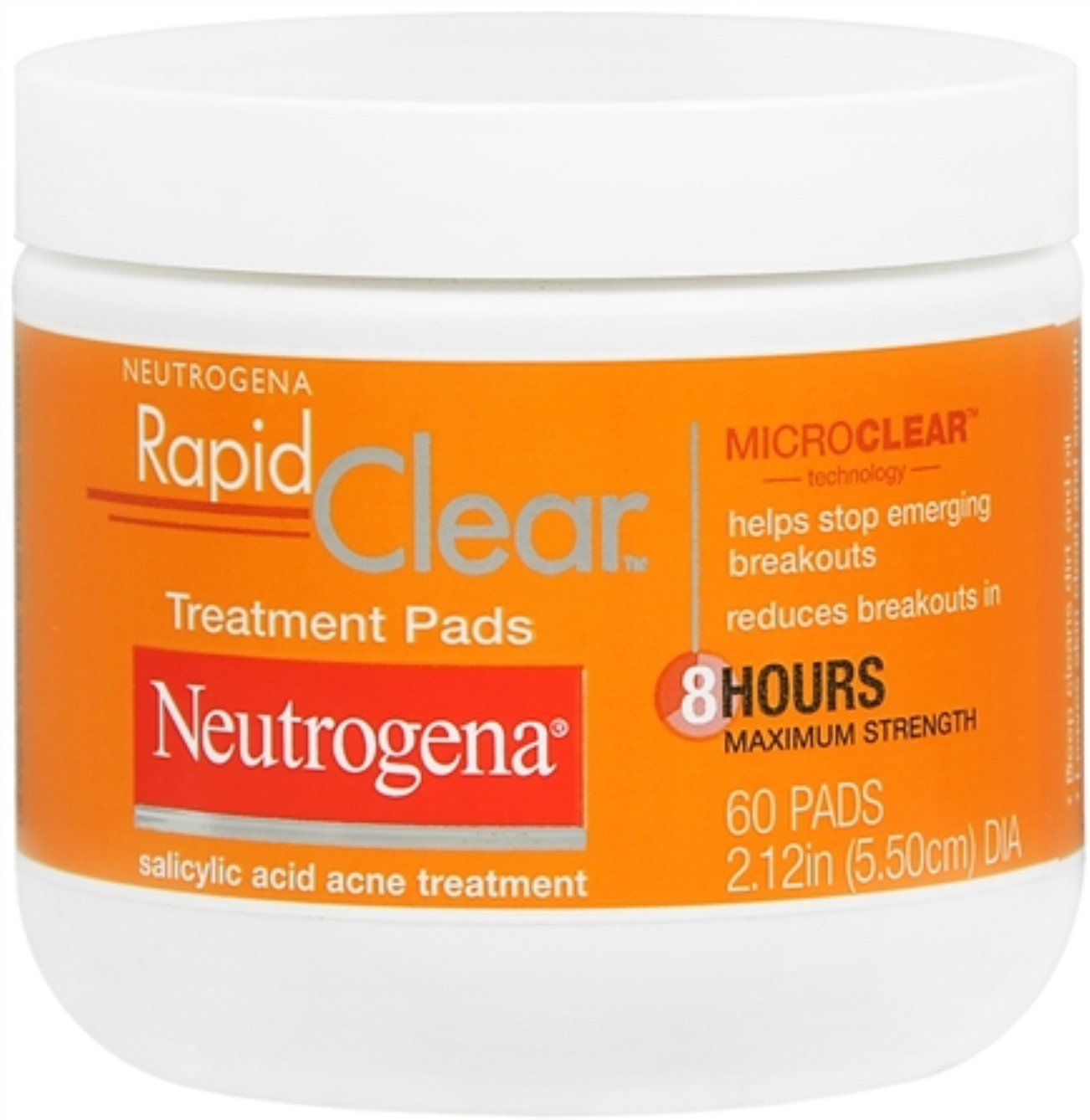 Neutrogena Rapid Clear Acne Face Pads with Salicylic Acid Acne Treatment Medicine to Fight Face Breakouts, Oil Free Pads with Maximum Strength Salicylic Acid Acne Medicine, 60 ct (Pack of 2)