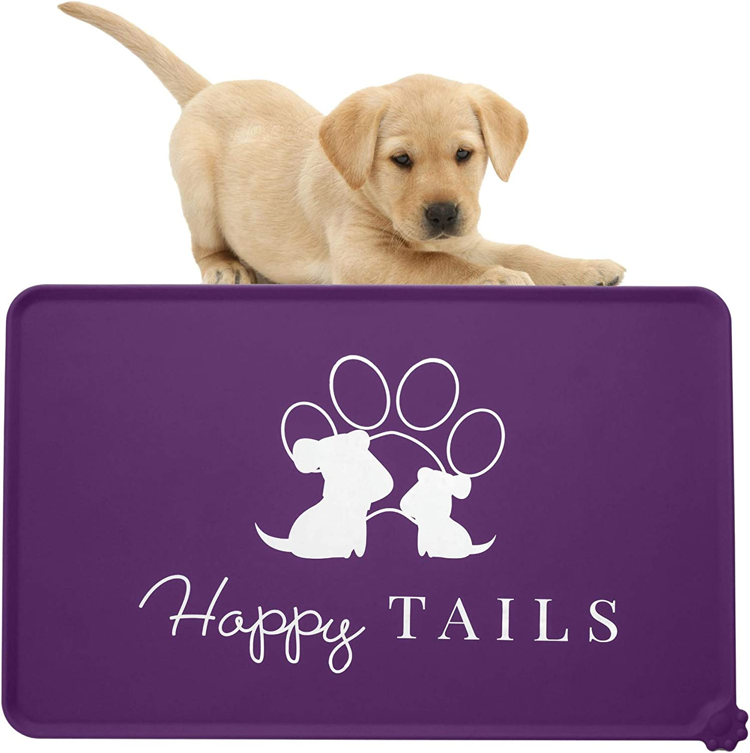 Happy Tails Silicone Dog Cat Bowl Mat   Pet Waterproof Feeding Mat Tray  Dog Food Mat   Non Slip placemat for Dog Food