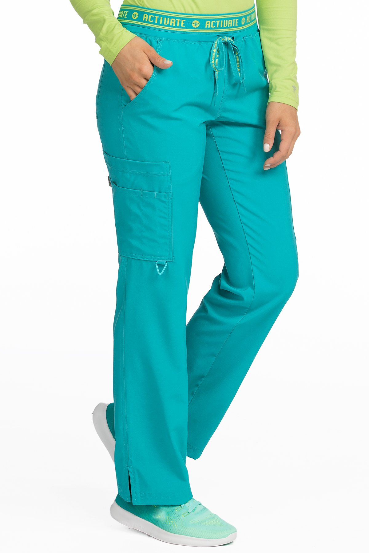 Med Couture Activate Scrub Pants Women, Flow Yoga 2 Cargo Pocket Pant, Aquamarine, Large Tall by Med Couture