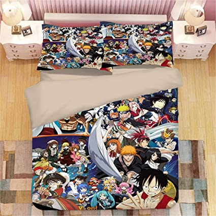 Funda Nordica One Piece.Juego De Cama Anime One Piece Luffy Naruto Hatsune Miku 3d