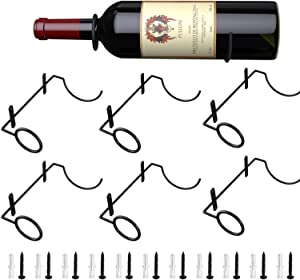 Wall Mounted Wine Racks 6 Pack, Metal Red Wine Bottle Holder for Wall Decoration Art, Hanging Wine Rack Organizer for Beverages/Liquor Bottles Storage, Mounting Screws and Anchors Included (Style-2)