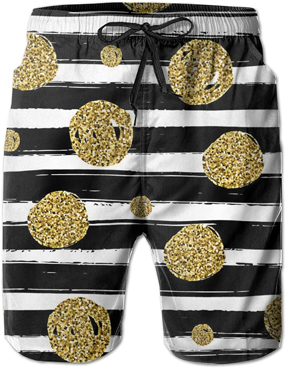 Fashion Swimsuit with Pockets Yt92Pl@00 Mens 100/% Polyester Gold Black White Beachwear