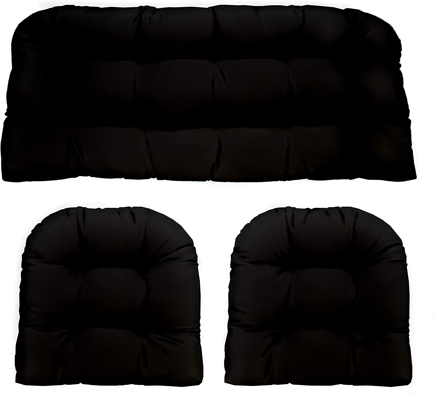3 Piece Wicker Cushion Set - Indoor / Outdoor Black Solid Fabric Cushion for Wicker Loveseat Settee & 2 Matching Chair Cushions