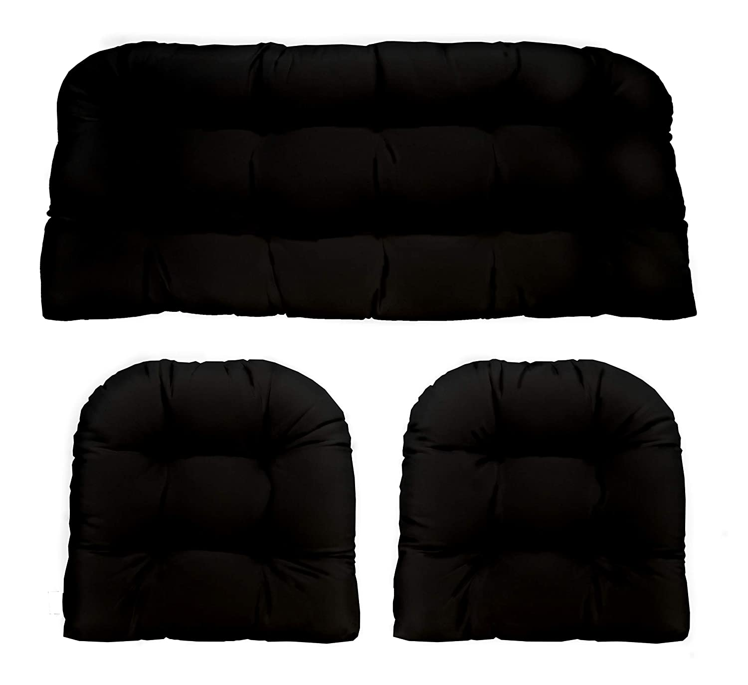 3 Piece Wicker Cushion Set – Indoor Outdoor Black Solid Fabric Cushion for Wicker Loveseat Settee 2 Matching Chair Cushions