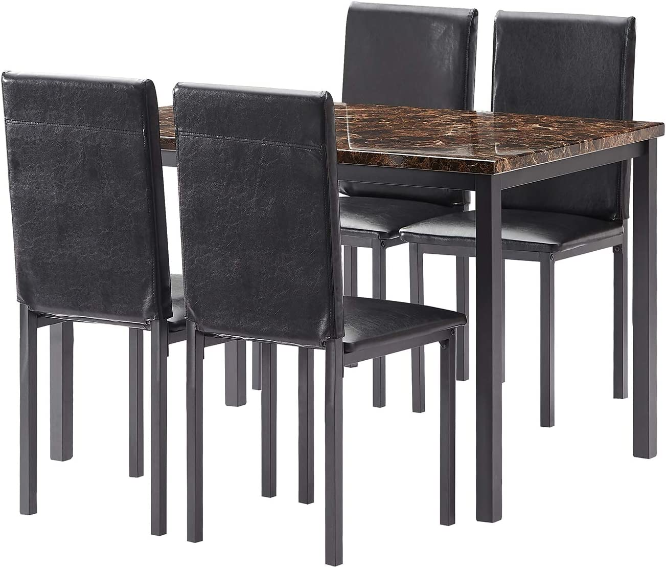 Mooseng Dining Table Set 5 Pieces Elegant Faux Marble Kitchen Table Set With 4 Upholstered Pu Leather Chairs Perfect For Bar Kitchen Breakfast Nook Living Room Black Table Chair Sets