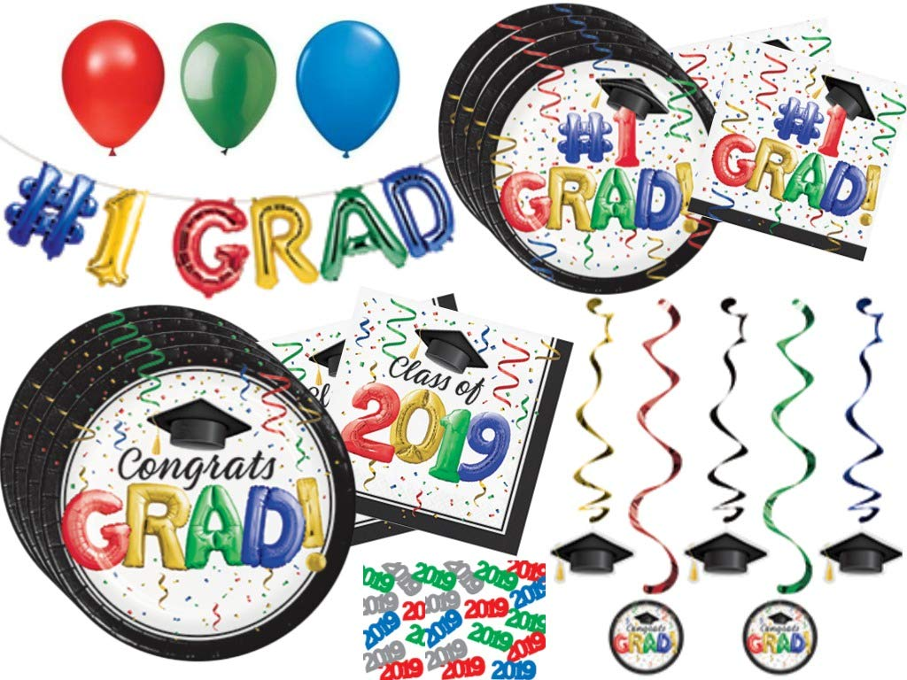 2019 Graduation Party Supplies Pack - Multicolored Disposable Tableware and Decorations for 32 Guests