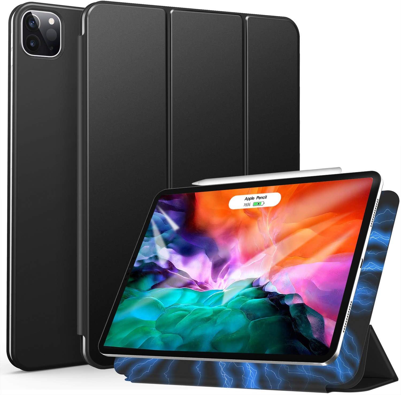 ZtotopCase Funda para iPad Pro 2020 12.9 Pulgadas, Ultrafina, Fuerte y magnética, Triple Soporte, con función de Encendido y Apagado automático, para iPad Pro de 12.9 2020 Pulgadas, Negro
