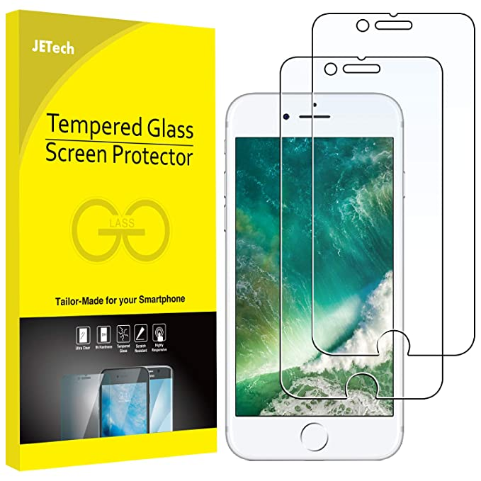 JETech Screen Protector for Apple iPhone 8 Plus and iPhone 7 Plus,  5 5-Inch, Case Friendly, Tempered Glass Film, 2-Pack