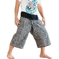 BohoHill Capri Thai Fisherman Pants Cropped Japanese Spiral Design