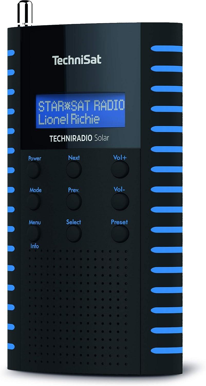 Technisat Techniradio Solar Tragbares Dab Radio Dab Ukw Kopfhöreranschluss Aufladung über Solarpanel Ipx 5 Spritzwassergeschützt Schwarz Blau Heimkino Tv Video