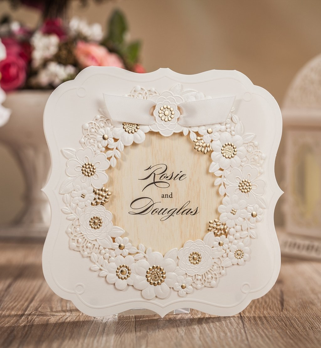 Wishmade 100X Laser Cut Wedding Invitations Kit Card Stock For Birthday Engagement Graduations Baby Shower Bridal shower Party CW6082 by Wishmade