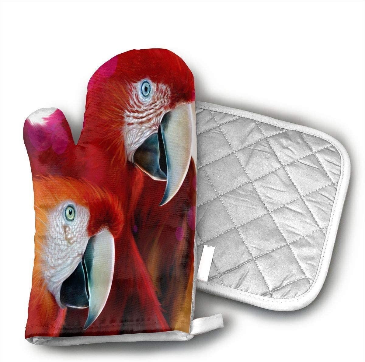 Animals Red Parrots Oven Mitts and Pot Holders Set with Polyester Cotton Non-Slip Grip, Heat Resistant, Oven Gloves for BBQ Cooking Baking, Grilling