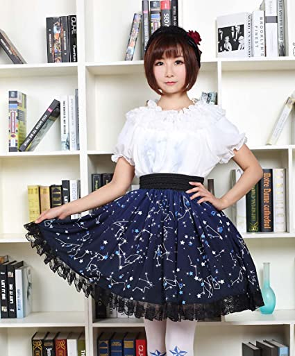 Blue Polyester Constellations Printed Lace Kawaii Lolita Skirt
