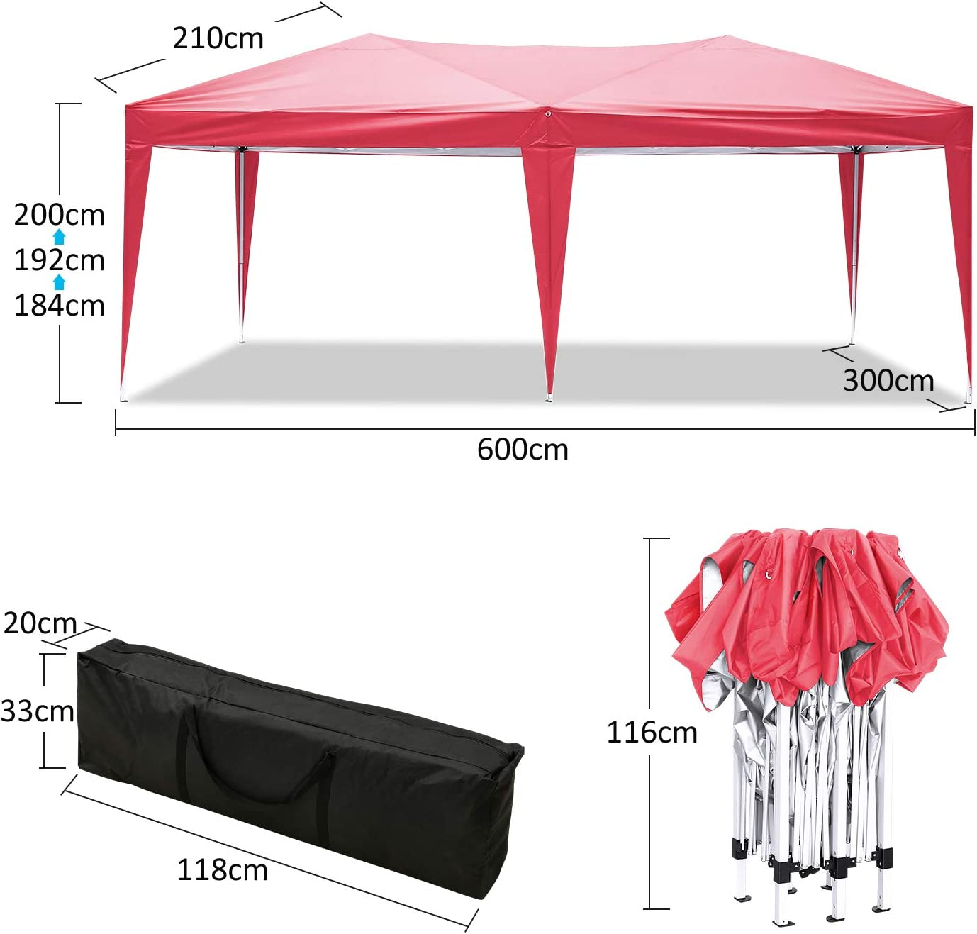 Garden Gazebo Waterproof Marquee Canopy Round Outdoor Patio Party Tent Sunshade