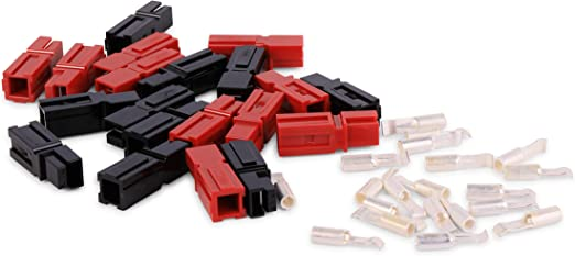45A Power Pole Red Black Interlocking Battery Connectors 14-10AWG Contacts