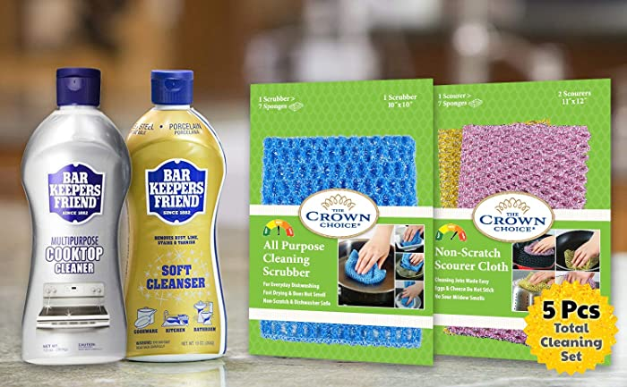 Bar Keepers Friend Cleaning Kit - Cooktop Cleaner, BKF Liquid Soft Cleanser, Non-Scratch Scrubbers for Kitchen, Bathroom, Rust, Home