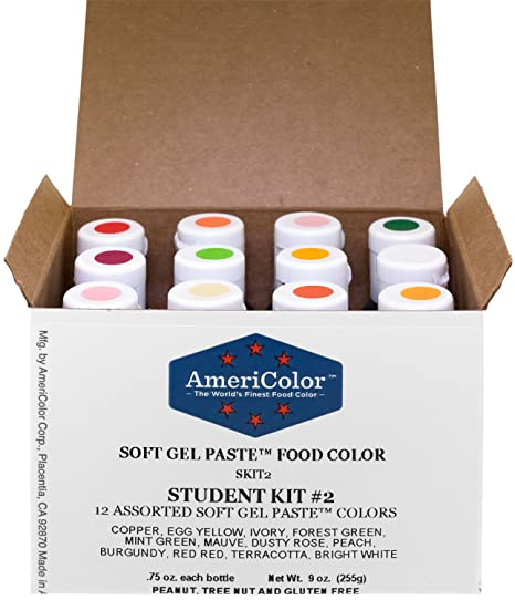 Food Coloring AmeriColor Student - Kit 2 12 .75 Ounce Bottles Soft Gel  Paste Colors