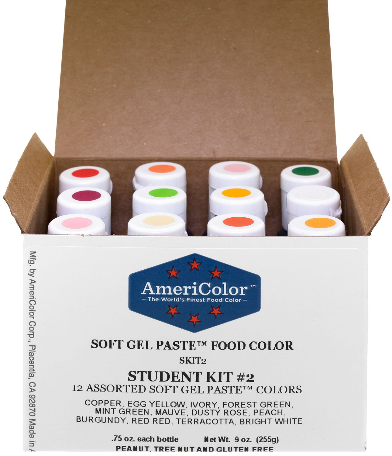 Food Coloring AmeriColor Student - Kit 2 12 .75 Ounce Bottles Soft Gel Paste Colors by AmeriColor
