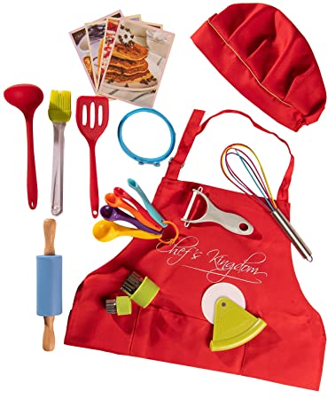 Riki s Kingdom kids Cooking Baking Utensil Set, 21-Piece Safe Kitchen Tools,Pizza Cutter Rolling Pin Spatula Whisk Ladle Pastry Brush Veggie Peeler and Cutters Apron Hat Recipe Cards