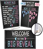 Gender Reveal Board Games 17/11 with Stand, 48 Blue and Pink Voting Stickers, Welcome Sign, Erasable White Marker and Clips, Party Supplies Decorations, Photo Props Centerpiece, Chalkboard Design