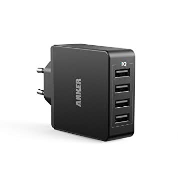ANKER Cargador USB de Pared 36W (7.2A) con 4 Puertos PowerIQ Cargador de Red Universal 110-240V para iPhone, iPad, Samsung, BQ, Xiaomi, Motorola, ...