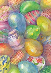 Toland Home Garden Easter Eggs 28 x 40 Inch Decorative Colorful Pastel Egg Collage House Flag