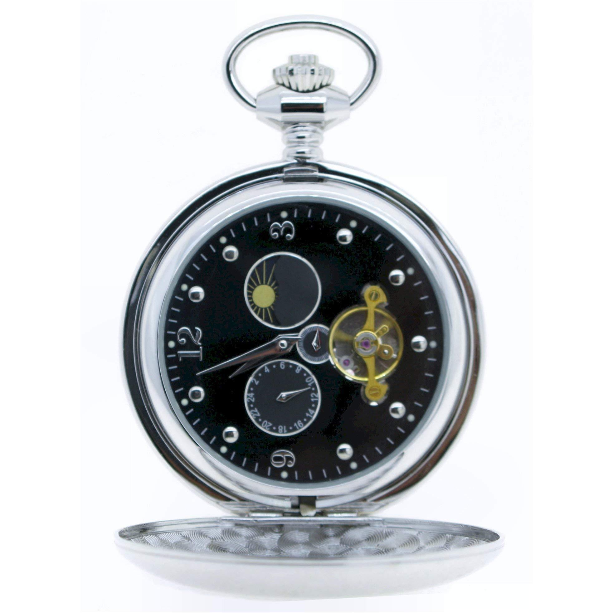 Tourbillon Mechanical Pocket Watch Skeleton Hand-Winding Silver Polish Sun & Moon Small Second 24 Hours Black Enamel Dial P42A by watchvshop