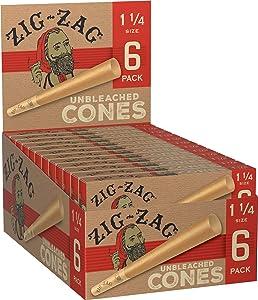 Zig-Zag Cones Unbleached Natural Fiber Pre Rolled Rolling Paper 1 & 1/4 (24 Box Carton) 144 Total Cones