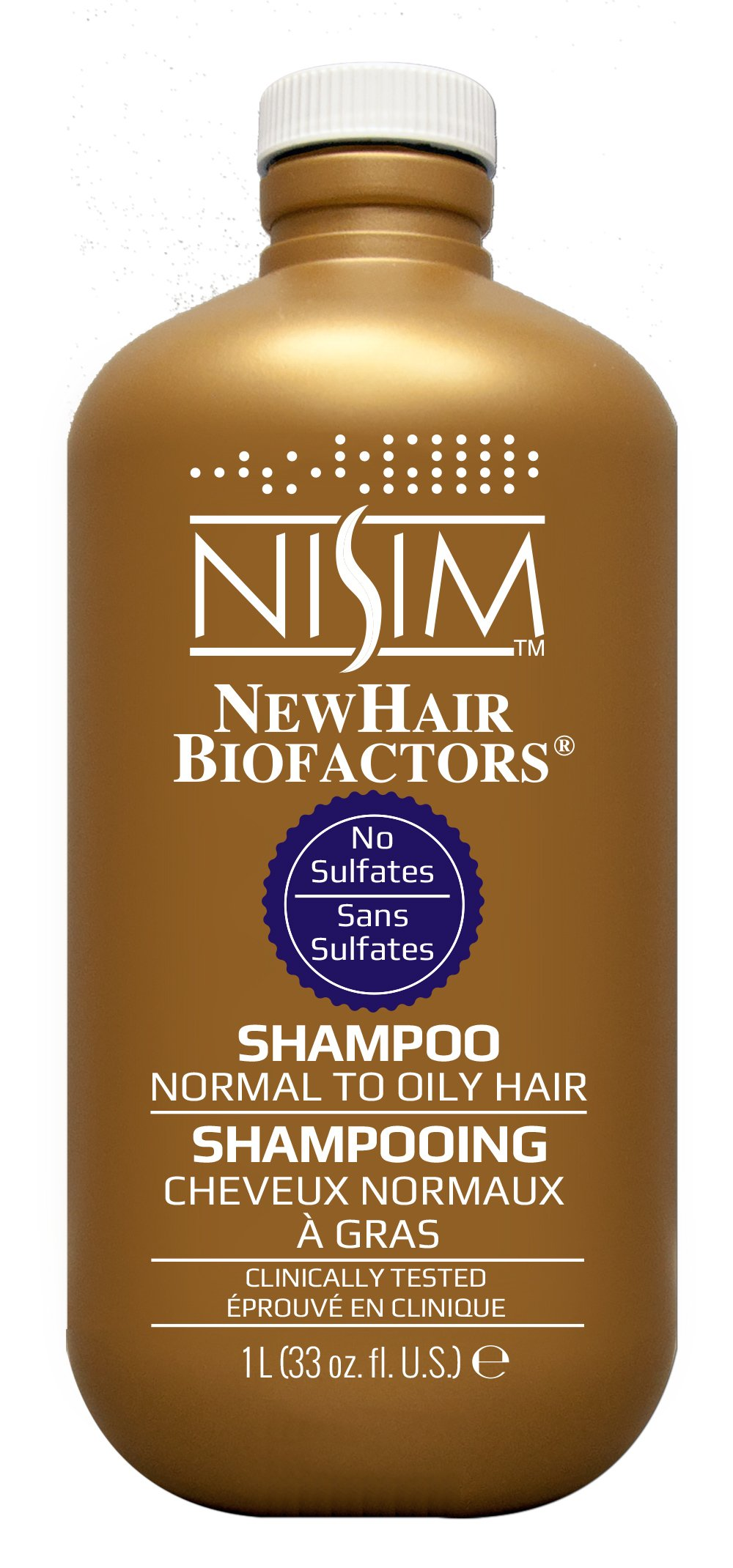 NISIM NewHair BioFactors Shampoo for Normal To Oily Hair - Deep Cleaning Shampoo That Controls Excessive Hair Loss (33 Ounce / 1000 Milliliter) by Nisim