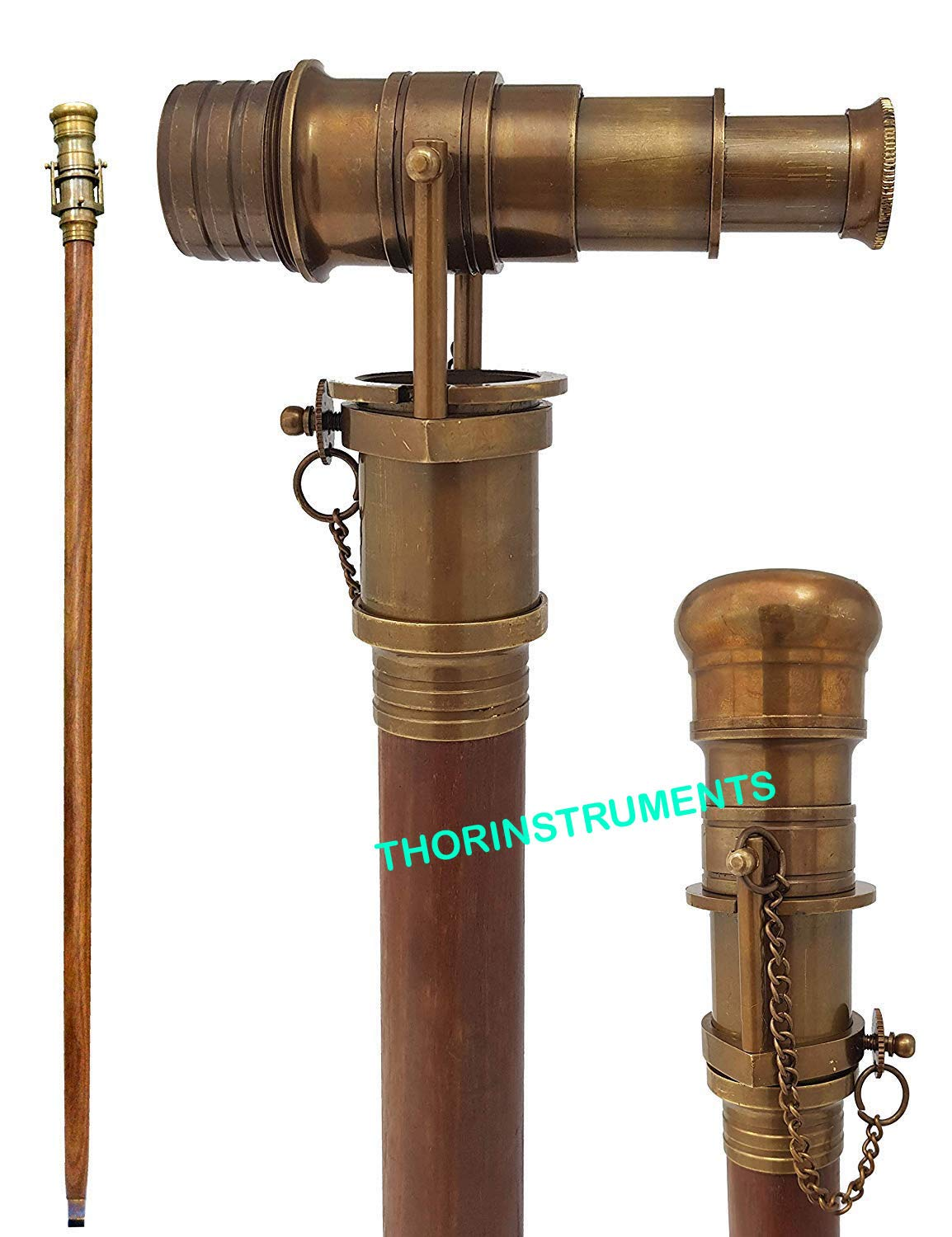 THORINSTRUMENTS (with device) Nautical Design Hollywood Walking Stick Collectors Telescope Wooden Walk Cane Gift by THORINSTRUMENTS (with device)