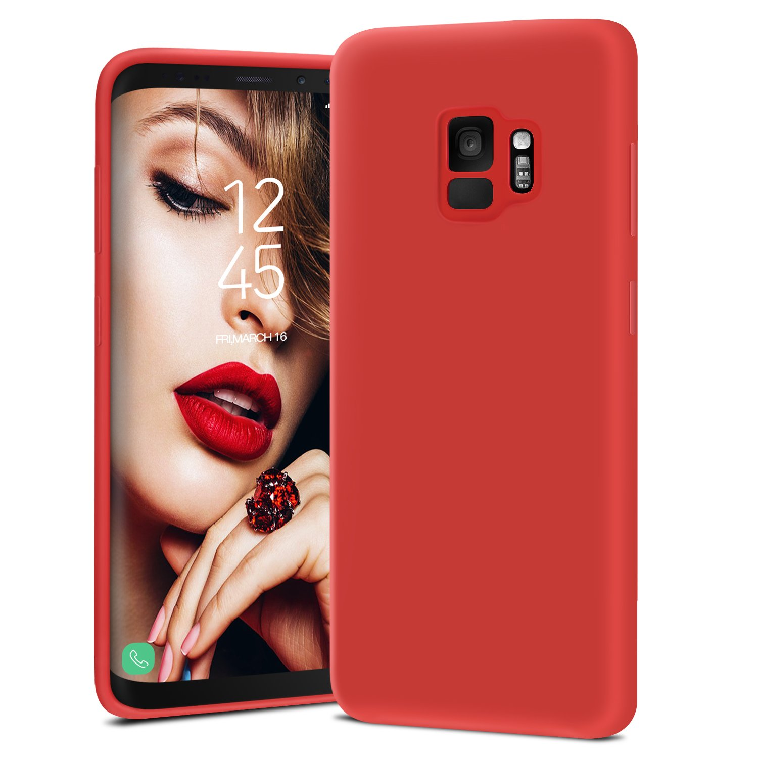 JASBON Coque Samsung Galaxy S9, Coque Silicone Liquide Anti-rayure,  Housse Protection Silicone Anti-choc Gel Case pour Samsung Galaxy S9 – Rouge
