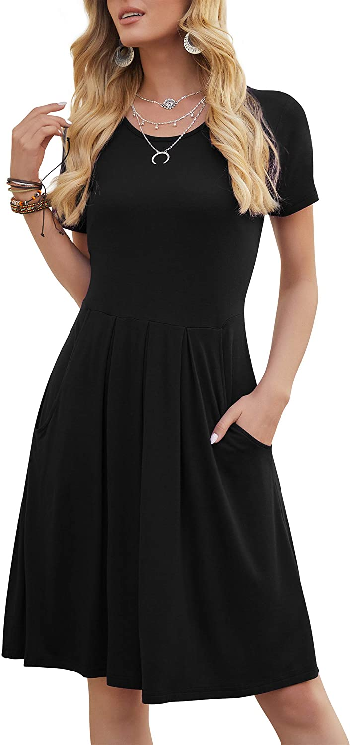 DouBCQ Women's Casual Flowy Pleated Loose Dresses with Pockets