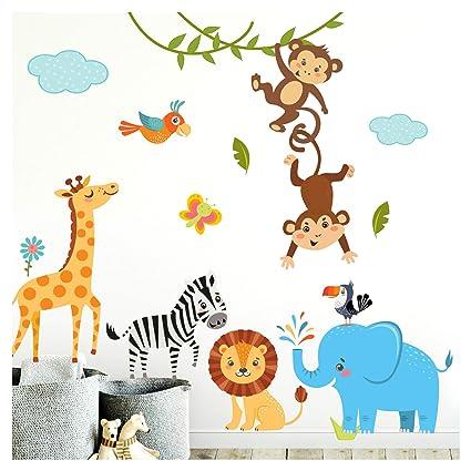 Little Deco Kinderbilder Dschungeltiere I L - 144 x 120 cm (BxH) I Wandtattoo Kinderzimmer Junge Deko Babyzimmer Junge Wandst