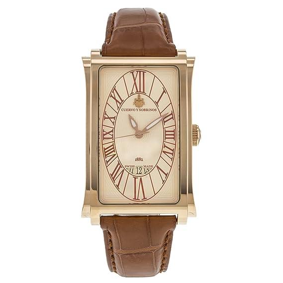 Cuervo Y Sobrinos 0 1012 - Reloj para hombres, correa de cuero color marrón: Amazon.es: Relojes