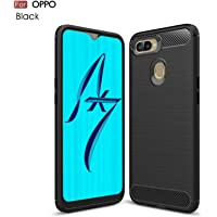 Oppo AX7 Heavy Duty Carbon Fiber Design Rugged Armor Flexible and Durable Shock Absorption Hybrid Case Cover (Black)