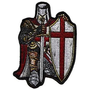 ecusson templier chevalier croix rouge catholique epée bouclier 11,5x8,5 cm chretien malte biker top qualite