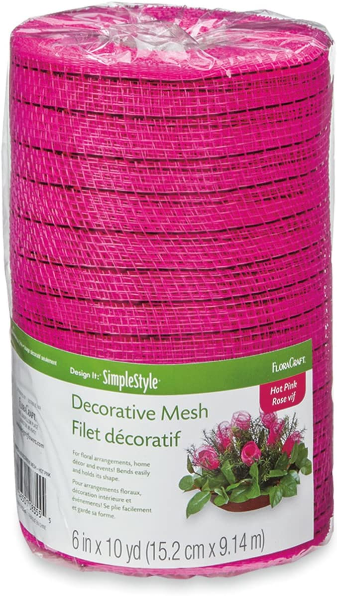 Decorative wreath mesh 6 in x 10 yd red pink lavender lot 3packs one each color
