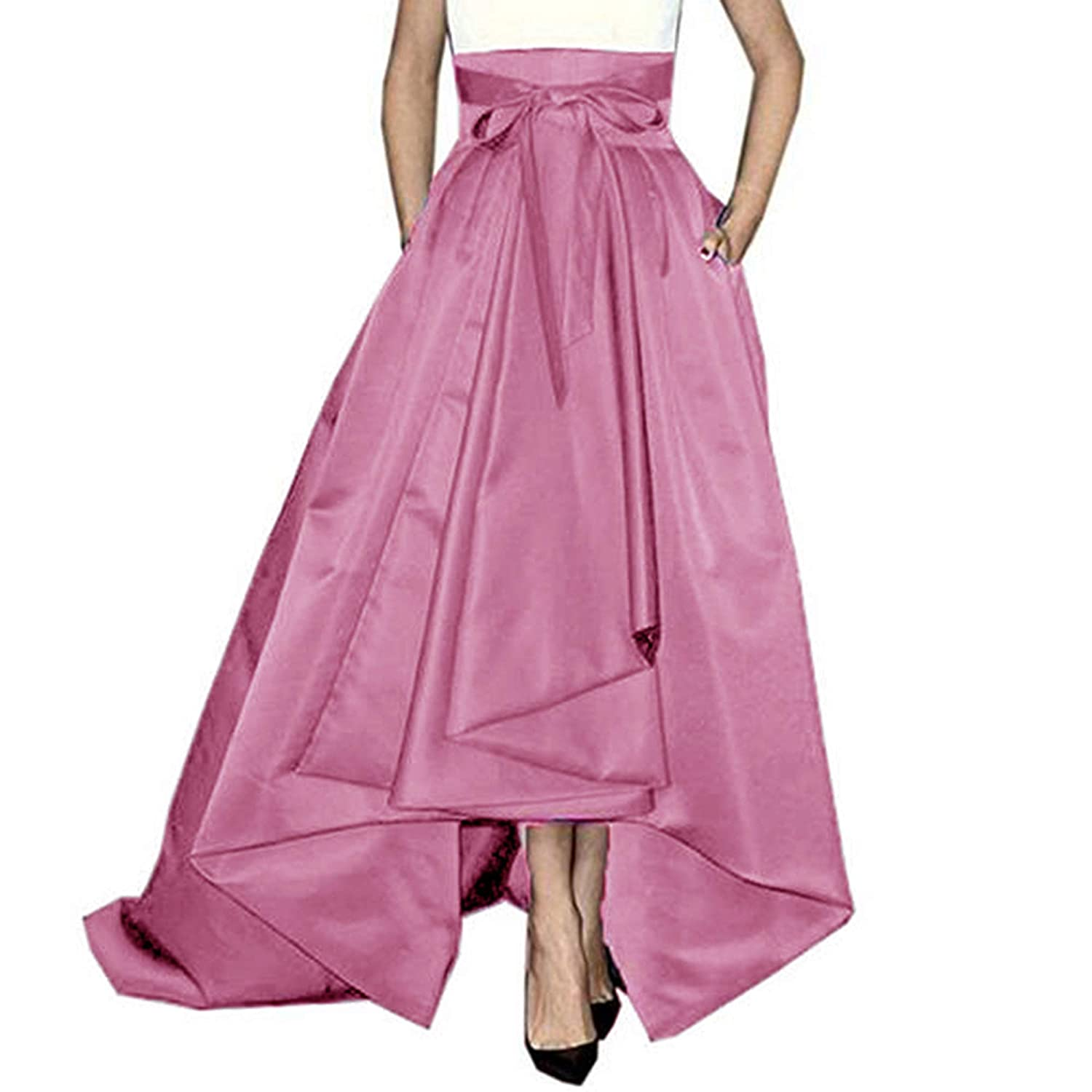 Lisong Women Floor Length High Low Bowknot Belt Satin Party Skirt