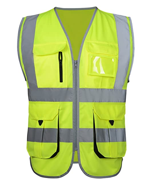 Reflective Security Safety Vest High Visibility Multi Pockets Zipper Front  Breathable Safety Vest Fluorescent Yellow Medium 6c78b47cce8