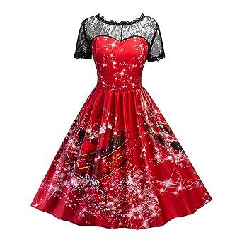 homebaby mujeres vestido Navidad Papá Noel vestido falda larga ...