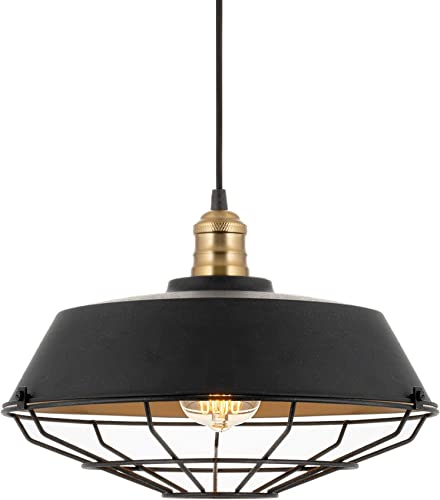 Kira Home Jaxon 14 Industrial Farmhouse Pendant Light, Wire Caged Hanging Light, Warm Brass Accents Textured Black Finish