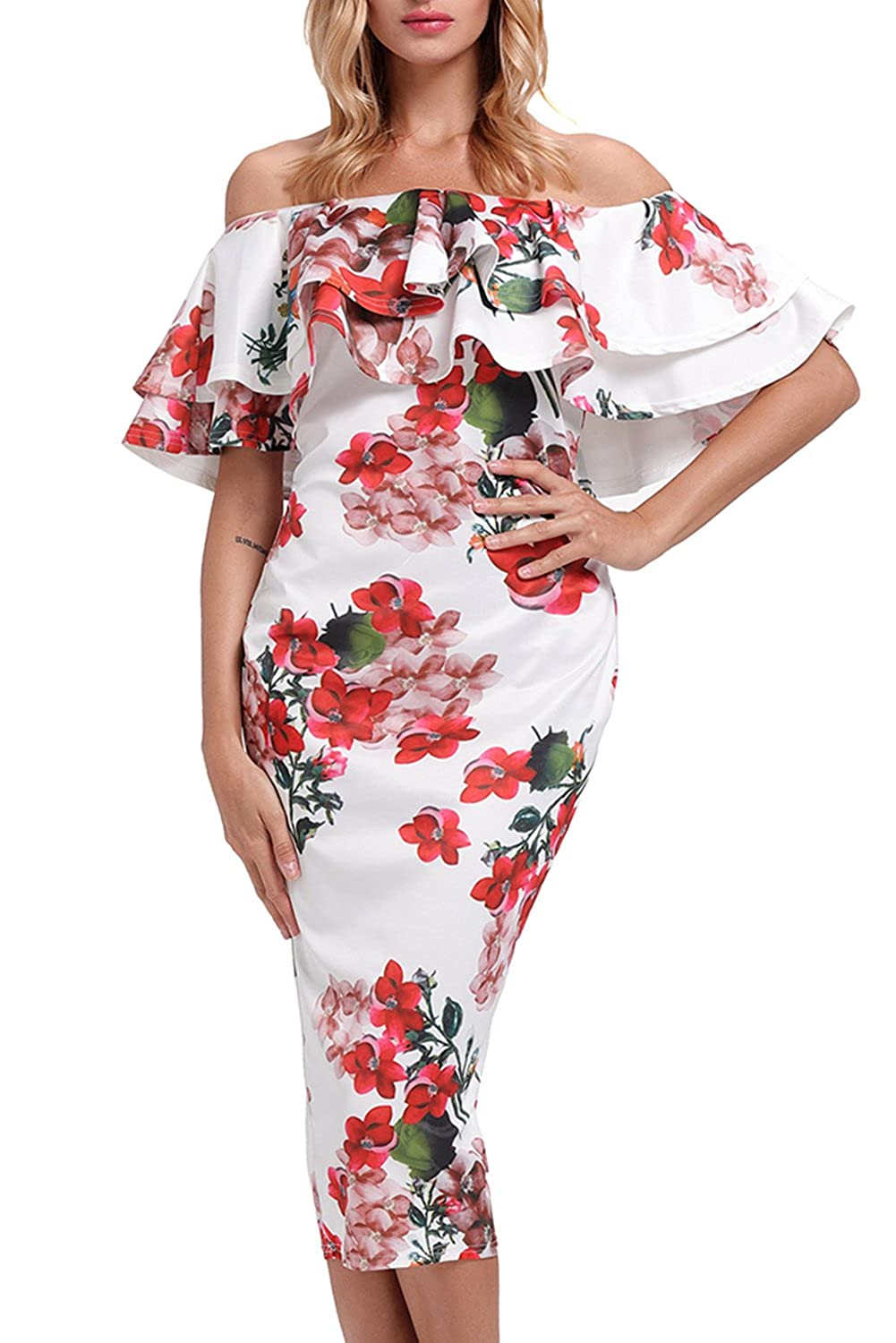 GOSOPIN Women's Off Shoulder Ruffle Bodycon Fit Floral Print Midi Dresses GO61611