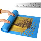 Ingooood Jigsaw Puzzle Roll Up Mat Puzzle Tables for Adults Portable Easy Move Storage Jigsaw Puzzle mat Work Separate roll up Storage System for up to 1,500 Pieces (Blue)