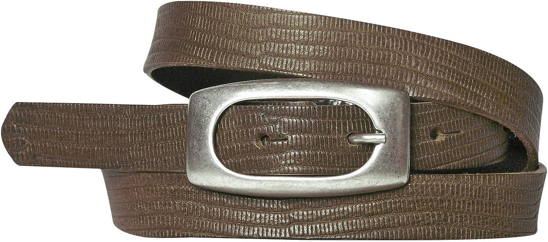 reptile print genuine leather FRONHOFER Womens skinny belt silver buckle