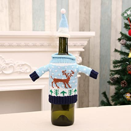 homee christmas bottle sets wine bottle clothes christmas wine bottle decorations christmas decorationsa - Christmas Bottle Decorations