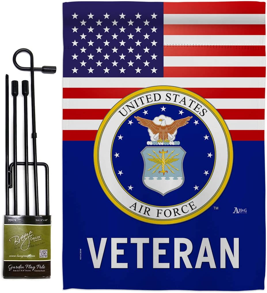 US Air Force Veteran Garden Flag - Set with Stand Armed Forces USAF United State American Military Retire Official - House Decoration Banner Small Yard Gift Double-Sided Made in USA 13 X 18.5